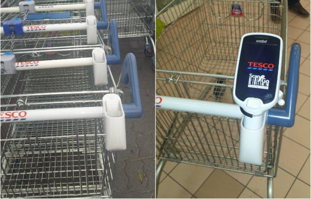 Tesco Scan&Go csippantótartó a bevásárlókocsin