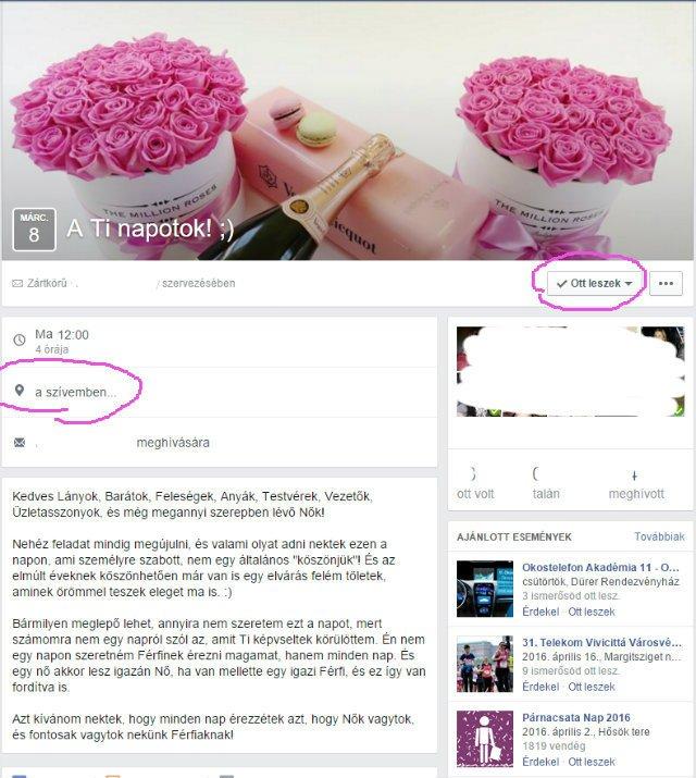 kreatív nőnapi köszöntés - facebook esemény