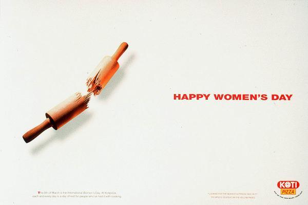 nőnapi kreatív reklám egy pizzázótól