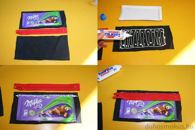 csokipapír-tolltartó készítése